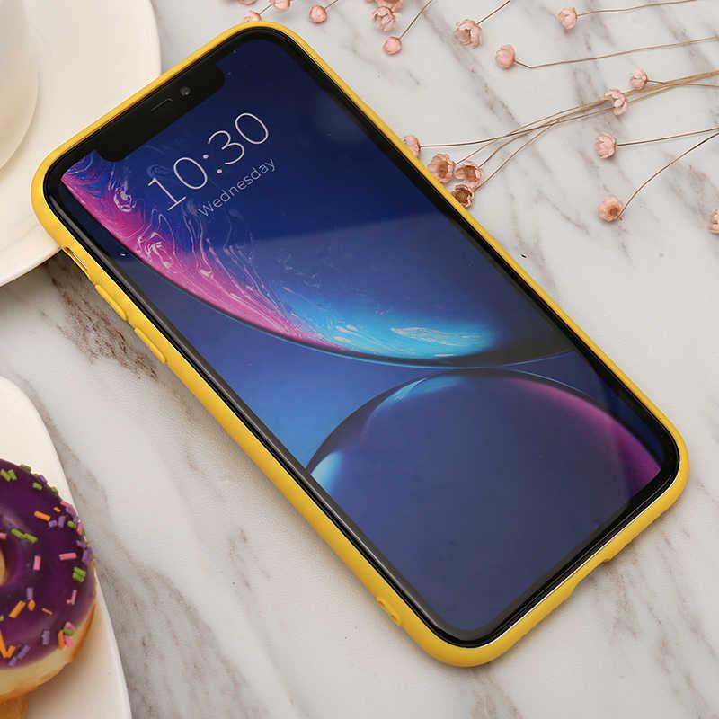 Eenvoudige Vlakte Telefoon Case Frosted Soft Tpu Candy Geel Back Cover Voor Iphone 8 7 6 6S Plus 5 5S Se Gevallen Voor Iphone X Xs Max Xr