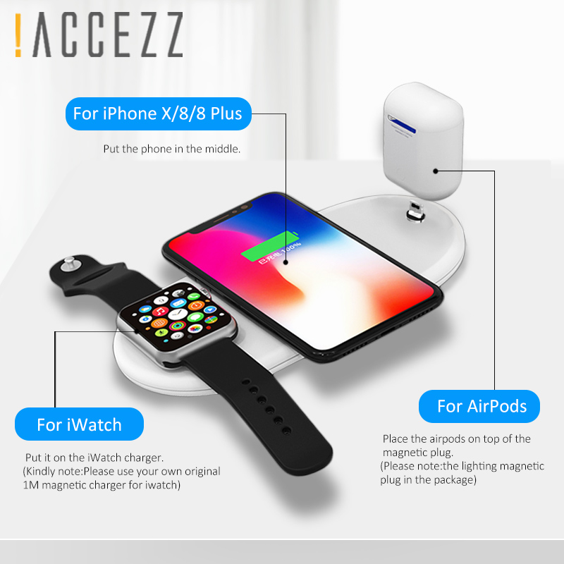 detailed look c260f fc6cb US $19.46 49% OFF|!ACCEZZ 3 in 1 10W 7.5W QI Fast Wireless Charging For  iphone 8 8P Plus X XS MAX XR Quick Charge For Apple Watch AirPods  Charger-in ...