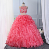 CloverBridal Puffy Ball Gown Crystals Stones Beaded Two Pieces Coral Quinceanera Dresses 15 years Girls Birthday Party