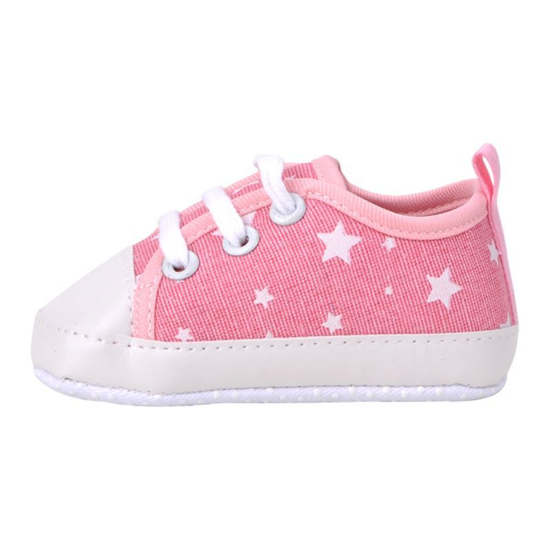 Newborn Baby Toddler Soft Sole Kids Shoes Stars Print Canvas Prewalker Lace Up Sneaker 0-18M