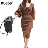 RUGOD Office Lady Solid Two Piece Set Women Sets V Neck Short Cardigans Sets knee Length Skirt ensemble femme 2 pieces pantalon