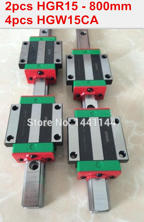 2pcs 100% original HIWIN rail HGR15 - 800mm rail  + 4pcs HGW15CA blocks for cnc router 2pcs hgr15 l1200mm 100