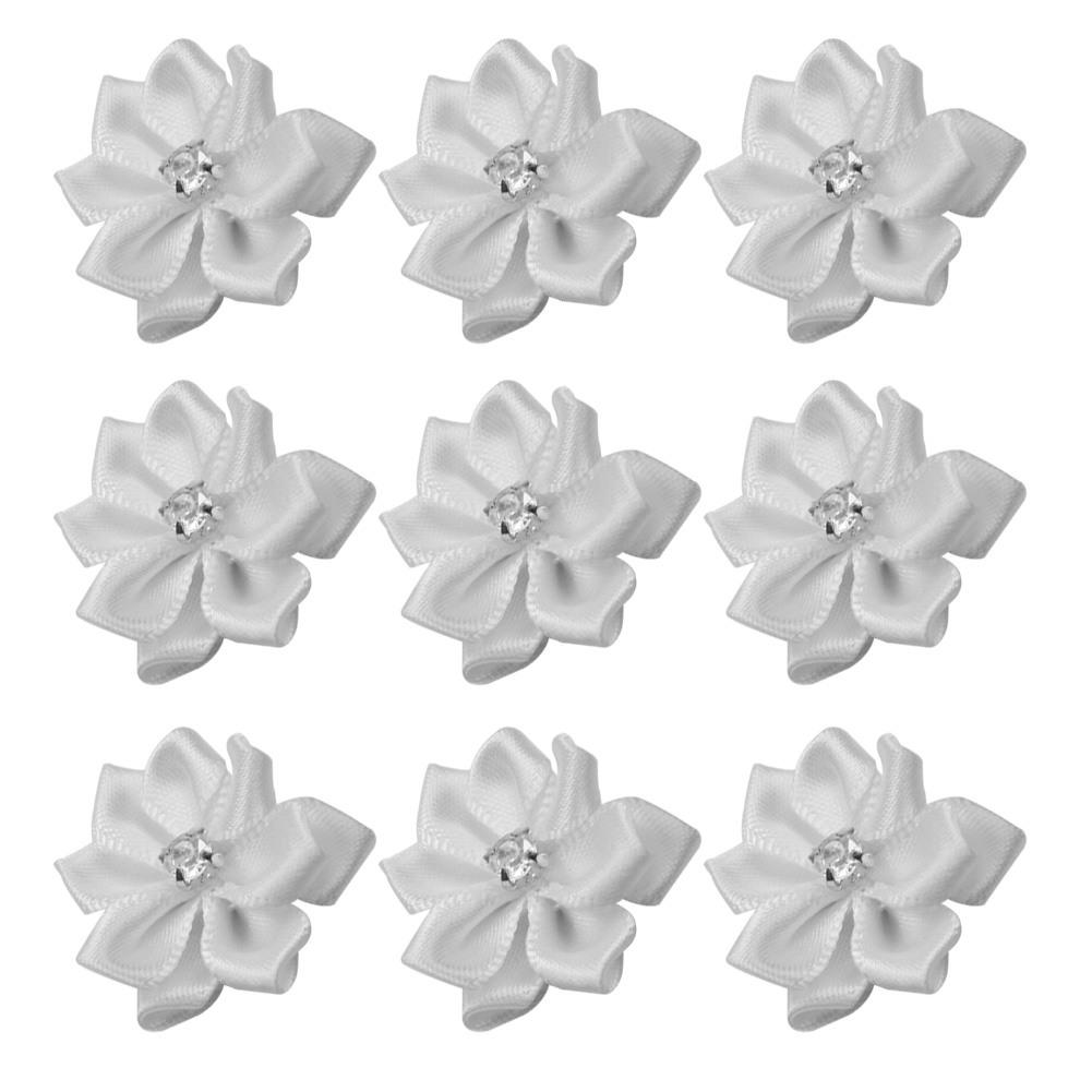 40Pc Satin Ribbon Flowers Appliques Craft for Wedding Party Sewing DIY White