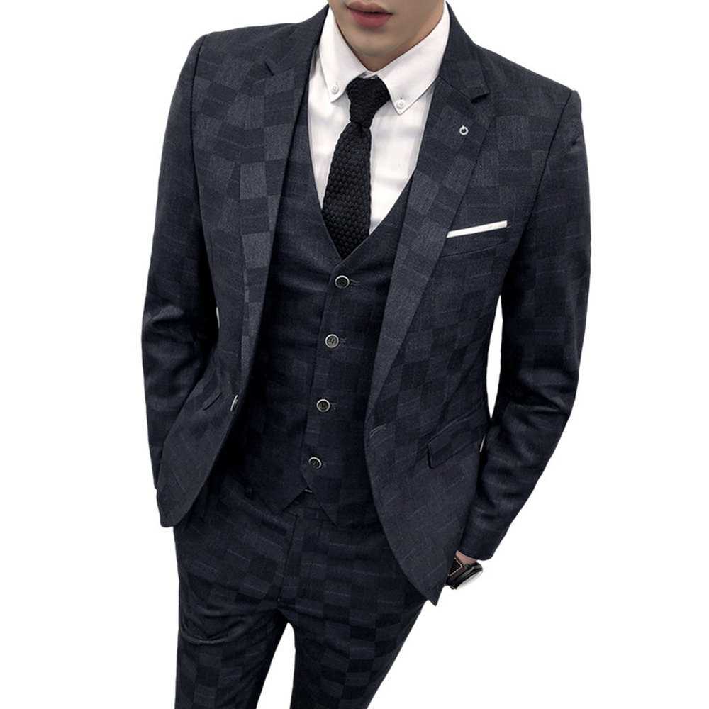 Mannen Formele Pak 3 Delige Set Business Bruiloft Mannelijke Grid Suits Jassen met Vest en Broek Slanke Elegante man Sets-in Pakken van Mannenkleding op  Groep 3