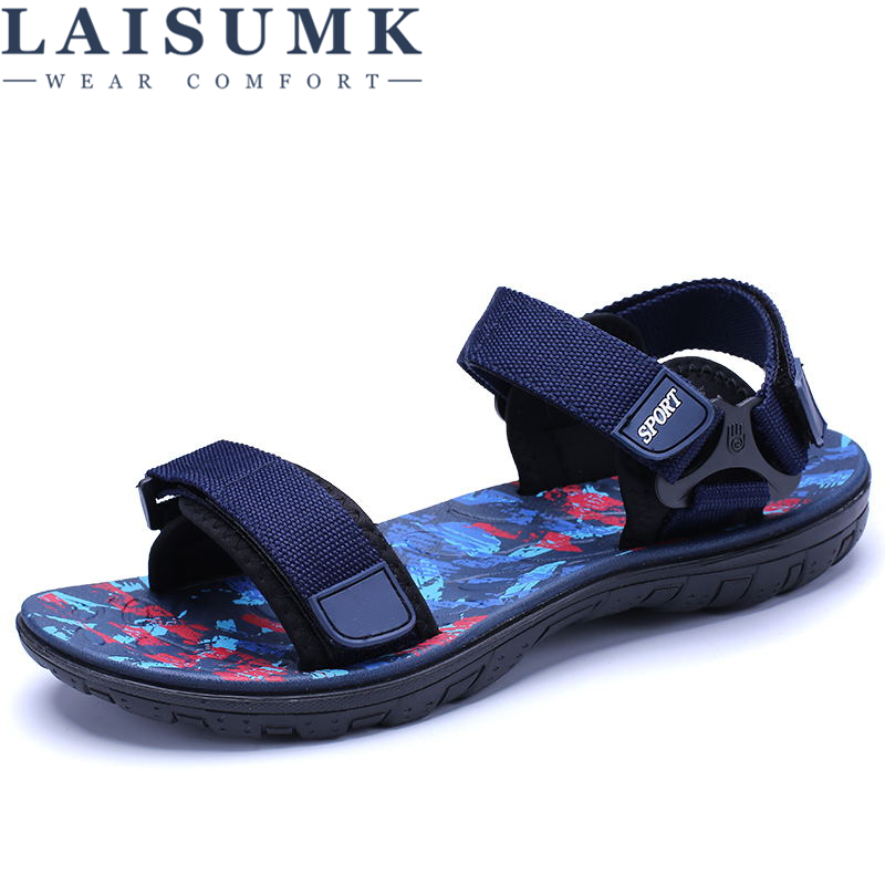 LAISUMK High Quality Brand Fashion Cool Men Beach Sandals 2019 Summer Breathable Casual