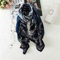 2017 Clássicos de luxo da marca cachecol mulheres xales de impressão Lenço De Seda Foulard Bandana tamanho grande Lenços cobertor xadrez feminino Elegante