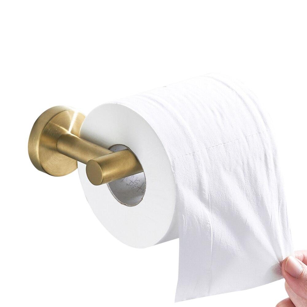 Leyden Bathroom Toilet Paper Holder Stainless Steel, Brushed Gold Tissue Holder Roll Wall MountLeyden Bathroom Toilet Paper Holder Stainless Steel, Brushed Gold Tissue Holder Roll Wall Mount