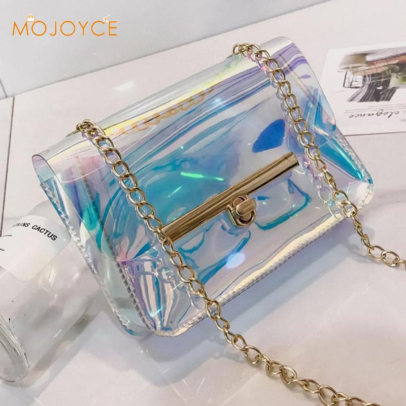 Women Laser Shoulder Bags Clear Crossbody Bag Transparent Small Messenger Bags Handbags Fashion Clear PVC Jelly Small Totes 2018 women cute jelly bag brands pvc chain bag candy transparent messenger bags girls small crossbody handbags