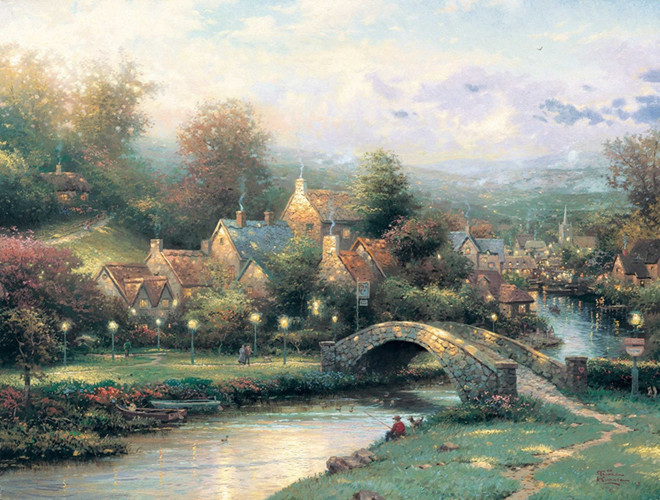 free shipping classical Thomas bridge light Countryside scenery canvas prints oil painting printed on canvas decoration picture
