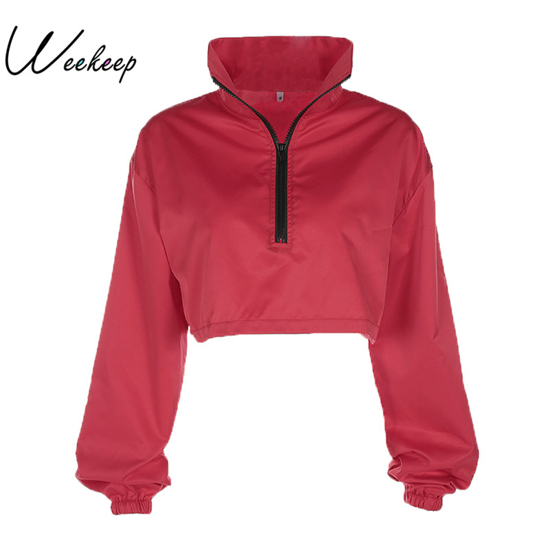 Weekeep Women Oversized Red Winter Hoodies Sweatshirts Sudaderas Mujer 2017 Cropped Hoodie Loose Casual Turtleneck Sweatshirt