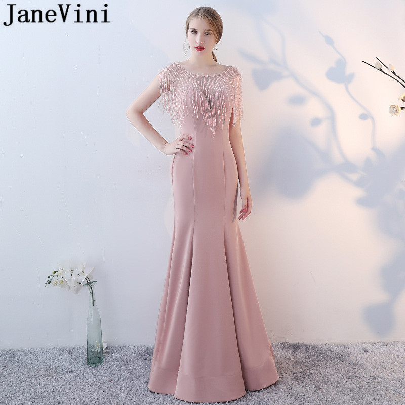 JaneVini Nude Pink Beaded   Bridesmaids     Dresses   Long Mermaid Elegant   Dress   for Wedding Party Beading Illusion Red Carpet   Dresses