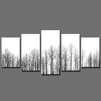 2016 Fashion New Promotion 5 Pcs Black And White Decoration Canvas Tree Painting On Wall Hanging