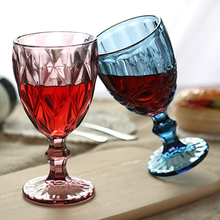 Drinking Glasses Friend Wedding Party Red Wine Glass Goblet 240ml 300ml Healthy Lead-free Green Blue Transparent Retro