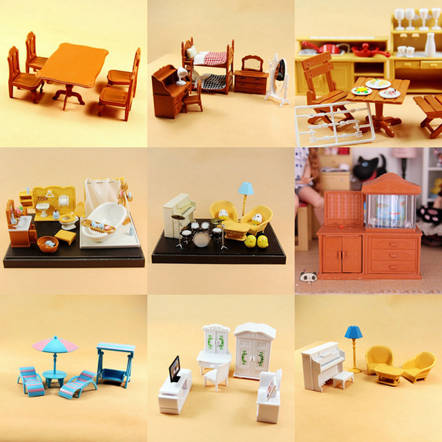 New Arrival Sylvanian Families Miniature Re Ment Dollhouse Furniture Bathroom Living Room Mini Dressing Table