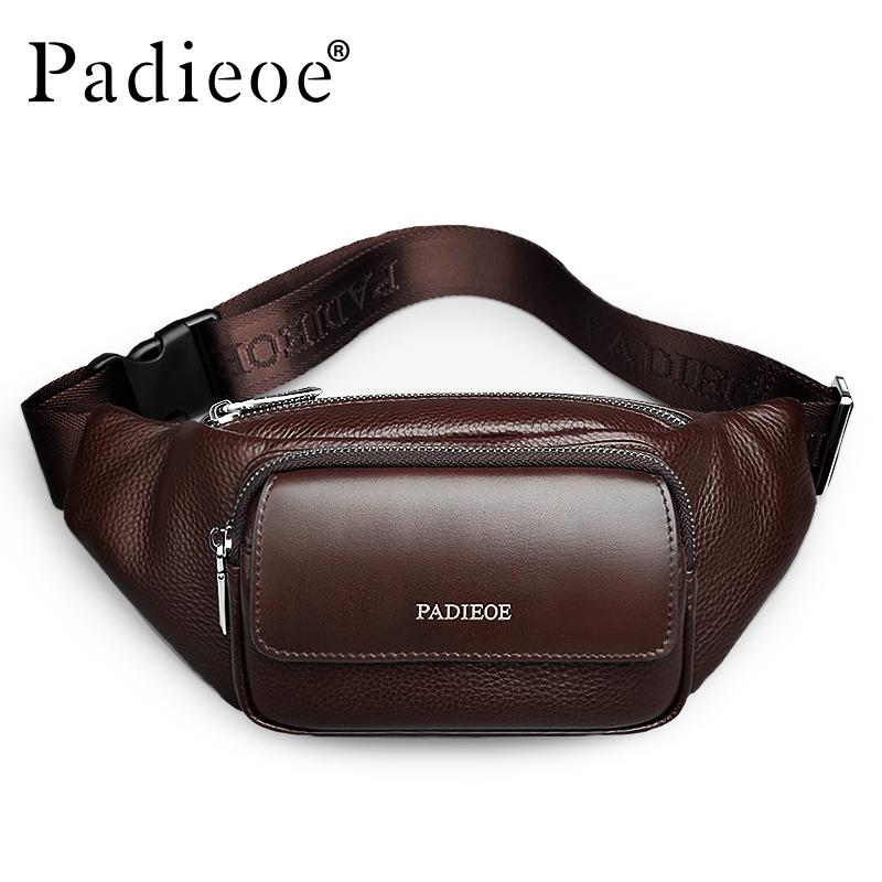 Prix pour Padieoe Véritable En Cuir Hommes de Taille Packs Nouveau Designer En Cuir Casual Taille Pack De Haute Qualité Unisexe Taille Ceinture Sac Taille sac
