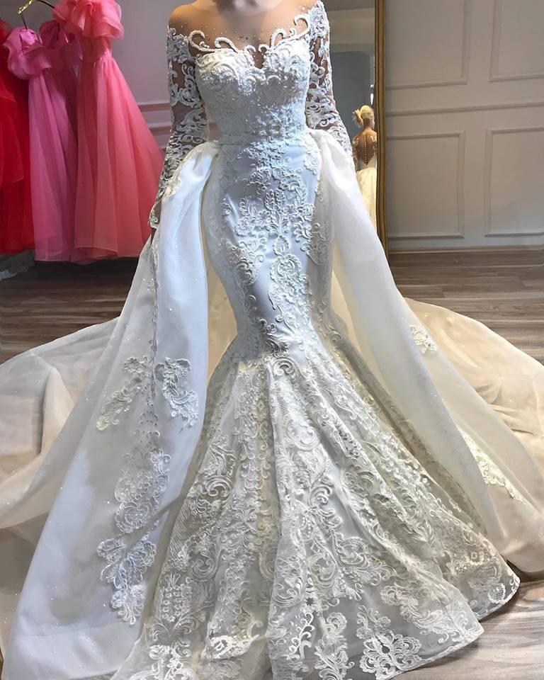 Dubai Arabic White Mermaid Wedding Dresses With Detachable Train Sheer Neck Long Sleeve Lace Beaded Bling Long Train Bridal Gown