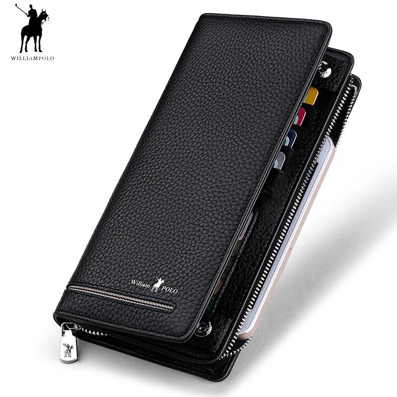 2018 Genuine Leather Luxury Brand Men Zipper Wallets Long Men Purse Wallet Male Clutch Business Wallet