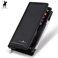 2018 Genuine Leather Luxury Brand Men Zipper Wallets Long Men Purse Wallet Male Clutch Business Wallet WILLIAMPOLO P0L0219