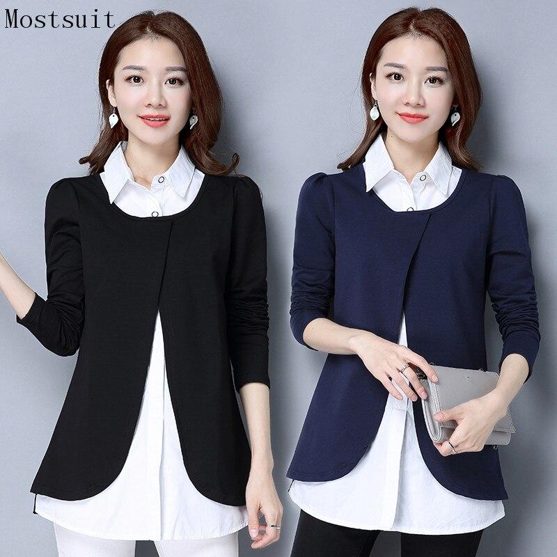 M-4xl Cotton Blusas Women Fake Two Pieces Long Blouse Shirt Plus Size Autumn Office Elegant Casual Female Tops Navy Black 2018