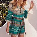 Zanzea mulheres vintage imprimir mini dress 2017 verão senhoras sexy V Neck Lace Up 3/4 Luva Ruffled Vestidos de Praia Casuais vestidos
