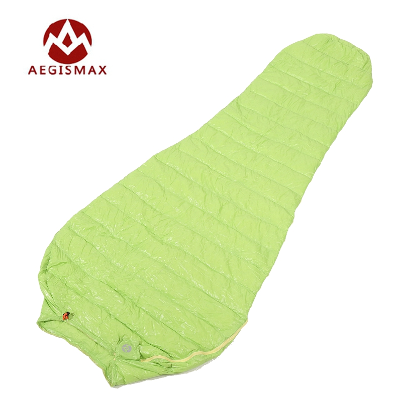 Aegismax Ultralight Lengthened Mummy Sleeping Bag White Goose Down Outdoor Camping Sewn Through Black&Green 200x80cm