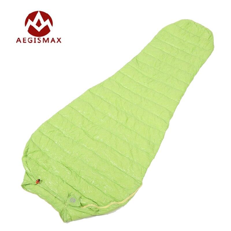 Aegismax Ultralight Lengthened Mummy Sleeping Bag White Goose Down Outdoor Camping Sewn Through Black&Green 200x80cm