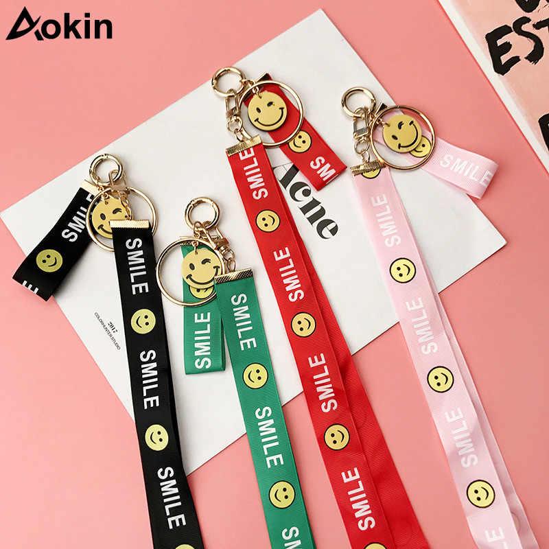 Aokin мода милой улыбкой 2 в 1 знак шнурок для ключей футляры для идентификационных карт телефон шейные платки для iPhone huawei веревка для samsung S8