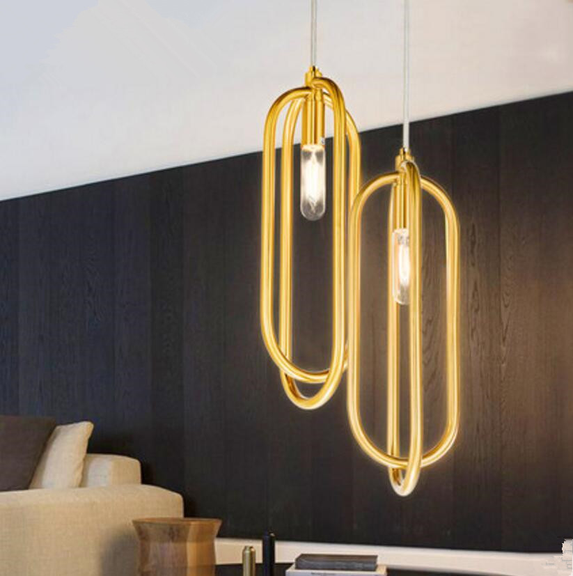 Hot Sale Luminaria Nordic Modern Hotel Club Restaurant Chandelier Stainless Steel Annular Simple LED Lamp Fixture Free Shipping