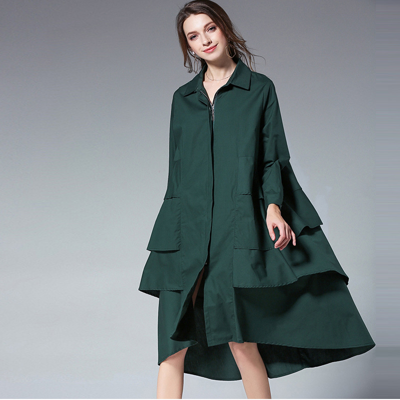 TREND-Setter 2018 Autumn Loose Casual   Trench   Coat Women Long Sleeve Ruffles Outwear Ladies