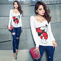 brand spring summer fashion Hot drilling Tight Nightclub Mouse sexy Low-cut women printing tee shirt Girl tee leisure top code