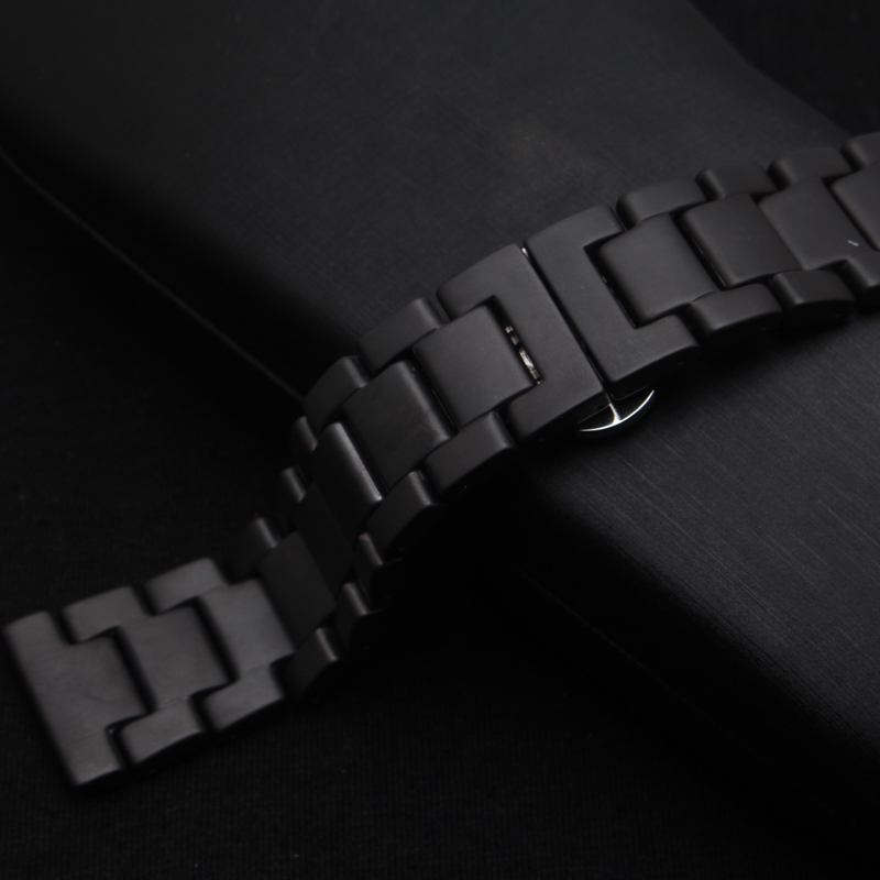 Unpolished Black Ceramic Watchbands Fashion style Watch strap bracelet fit smart watch gear s3 22mm classic