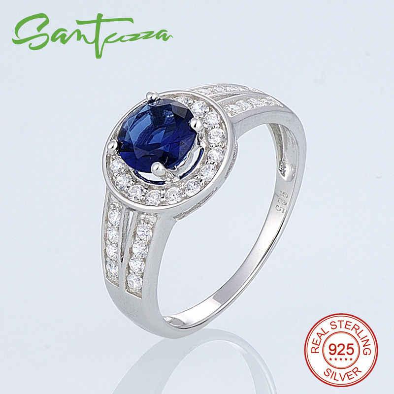 SANTUZZA แหวนเงินผู้หญิงหมั้นงานแต่งงานแหวนรอบ Blue Cubic Zirconia แหวนเงินแท้ 925 แฟชั่นเครื่องประดับ