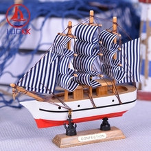 LUCKK 16CM Handmade Wooden Model Ships Home Interior Decoration Nautical Room Wood Crafts Kids Birthday Gift Souvenirs