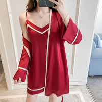 be51c2ae0 European Female Robe Gown Sets 2pcs Cardigan Slip Dress Women Nightwear  Pyjamas Silk Like High Quality