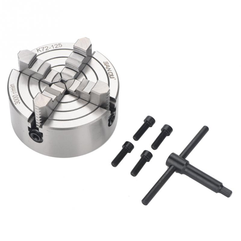Reversible Independent 125mm Lathe Chuck 4Jaw 5'' CNC Machine Tool 4-M8 Four Jaws CNC Metalworking Tool Accessory цена