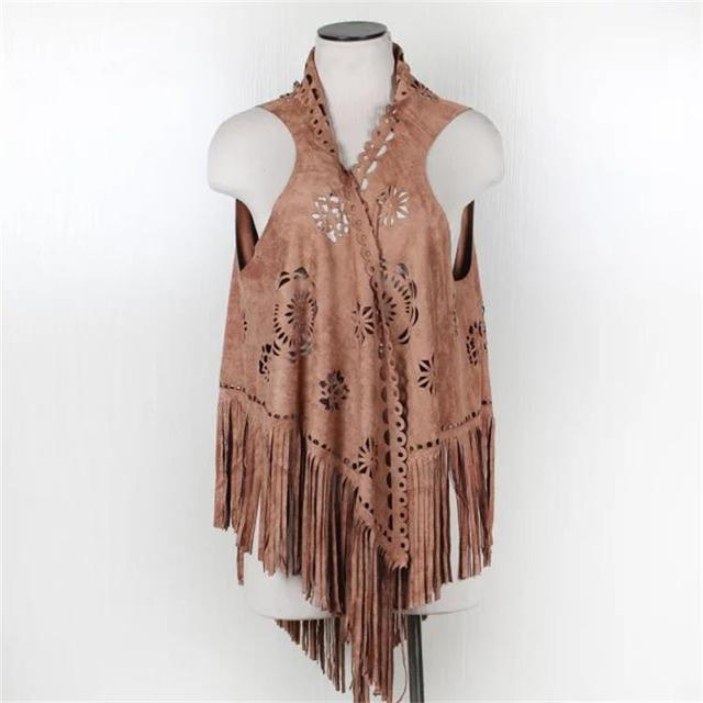 New design women scarves sleeveless jacket hollow out faux suede fur coat ponchos and capes with tassel