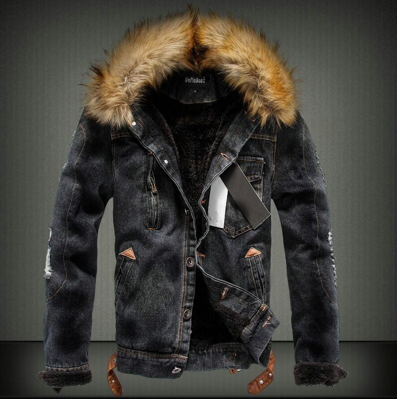 Winter New 4XL Mens Fleece Hole Denim Jacket Fashion Fur Collar Thicken Male Casual Jack ...