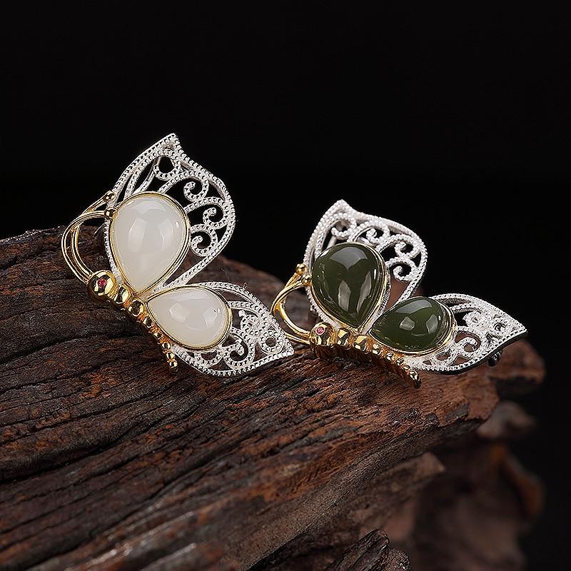 INALIS Unique 925 en argent Sterling bijoux fins papillon blanc Jade émeraude Jasper pendentif luxueux Broches Broches Broches pour fille