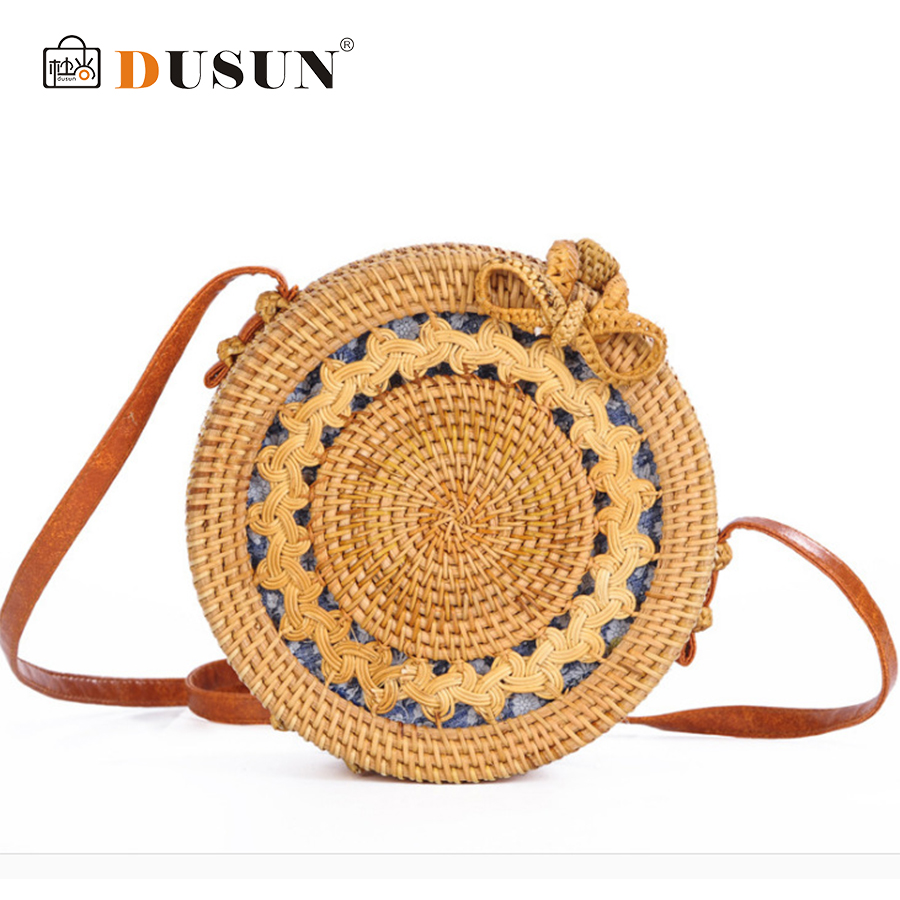 DUSUN Summer Bali Hand-Woven Rattan Bag Embroidery Shoulder Crossbody Bags Beach Straw Bag Bohemian Knitting Circular Handbags