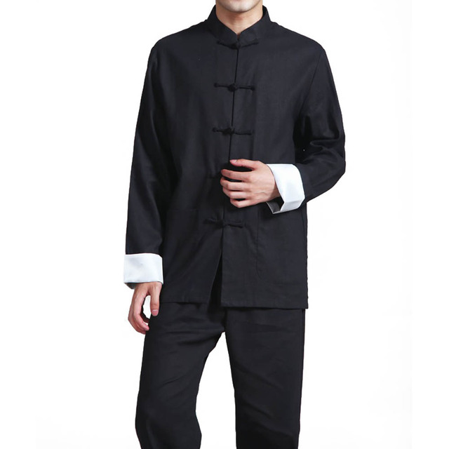 7d568a6904684 Uniforme de Kung Fu de Algodão de Linho dos homens Botão de Camisa Gola  Mandarim Manga