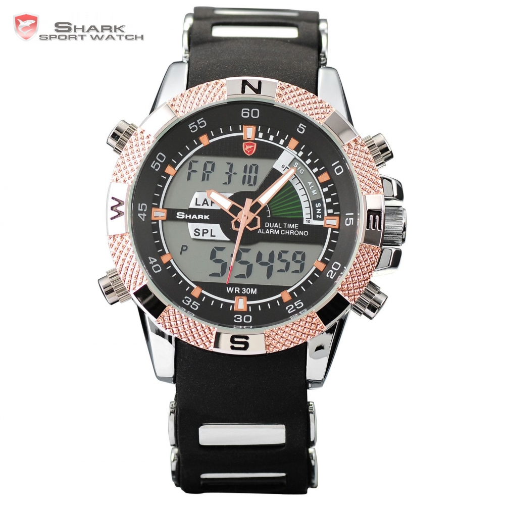 SHARK Sport Watch Golden Multiple Time Zone Analog Dual Time Date Silicone Strap Quartz Military Wrist Relogio Men Gift SH045 goblin shark sport watch 3d logo dual movement waterproof full black analog silicone strap fashion men casual wristwatch sh165