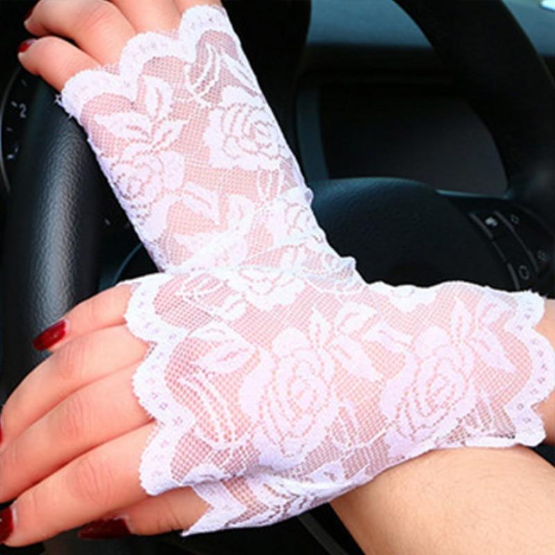 UV-proof Women Driving Fishnet Half-finger Gloves Spring Summer Chic Knit Flower Party Etiquette Fingerless Lace Gloves