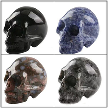 skull crystal carved crystals stones and  One piece with seven Color random