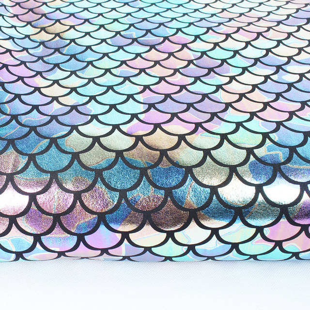 Iridescent Sparkly Scale Mermaid Tessuto Ologramma Spandex 2 Vie ...