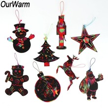 OurWarm New Year 2019 Christmas Tree Ornaments Magic Color Scratch Card Elves Gome Wooden Pendant & Drop