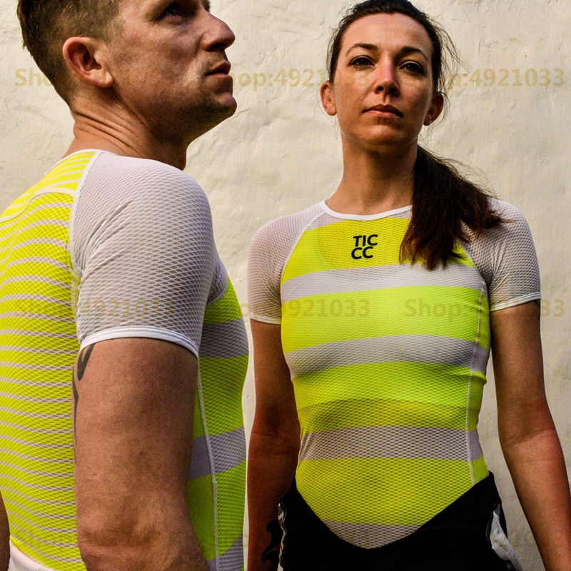 Short sleeve base Stripes Women's New Yellow & white MTB cycle base layer 2019 Summer RBX breathability bicycle underwear female