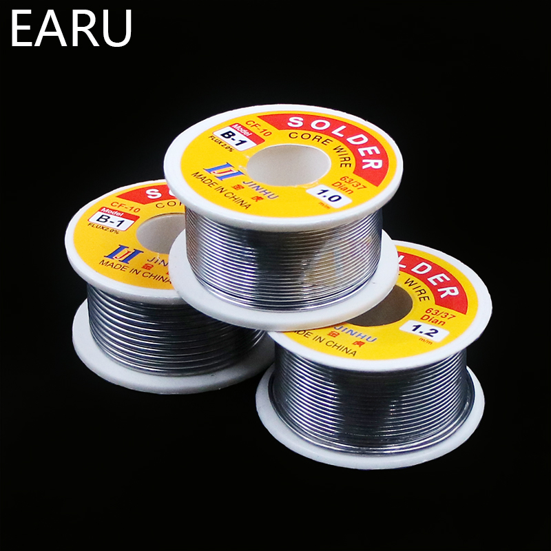 100g 0.6/0.8/1/1.2/1.5/2MM 63/37 FLUX 2.0% 45FT Tin Lead Wire Melt Rosin Core Solder Soldering Wire Roll For Eletric Solder Iron