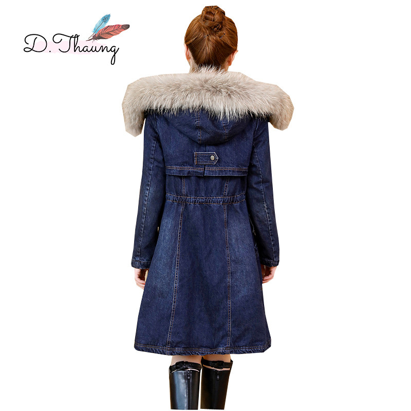 Winter Jacket Women 2019 New Plus Velvet Mid-Long Thick Female Denim Jacket Large Size Hooded Fur Collar Ladies   Parkas   Cw648