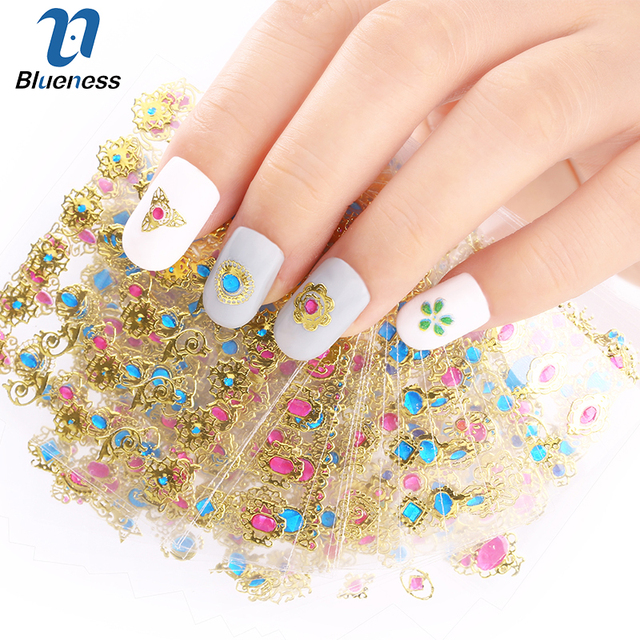 24 Pcslot Beauty 3d Bronzing Cross Designs Nail Art Stickers