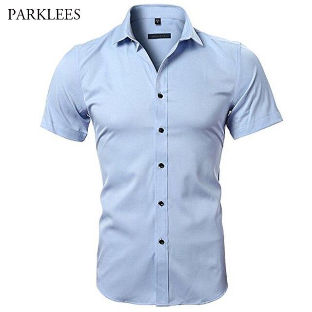 Blauw Bamboevezel Shirt Mannen 2018 Zomer Korte Mouw Heren Dress Shirts Casual Slim Fit Easy Care Effen Non Iron chemise Homme